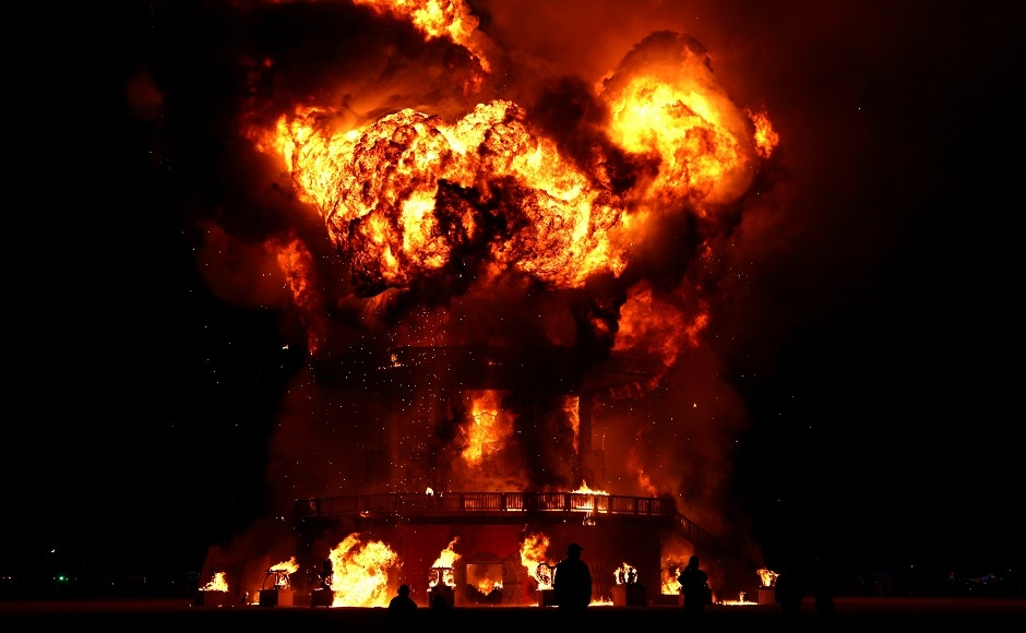 Man rescued from the flames at Burning Man festival
