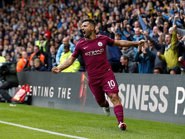 "Soccer Football - Premier League - Watford vs Manchester City - Vicarage Road, Watford, Britain - September 16, 2017 Manchester City's Sergio Aguero celebrates scoring their fifth goal completing his hat-trick REUTERS/Darren Staples EDITORIAL USE ONLY. No use with unauthorized audio, video, data, fixture lists, club/league logos or ""live"" services. Online in-match use limited to 75 images, no video emulation. No use in betting, games or single club/league/player publications. Please contact your account representative for further details. - RC184E95FF10"