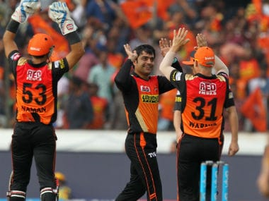 File image of Afghanistan's Rashid Khan in action for his IPL team Sunrisers Hyderabad. Image courtesy: Sportzpics