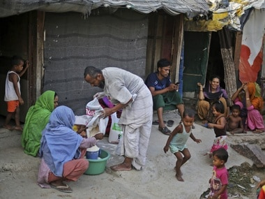 Rohingya refugees at a camp for the refugees in New Delhi, India. AP