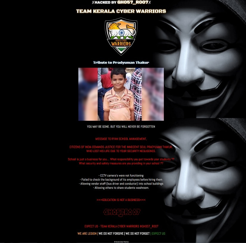 Ryan school website hacked_screenshot