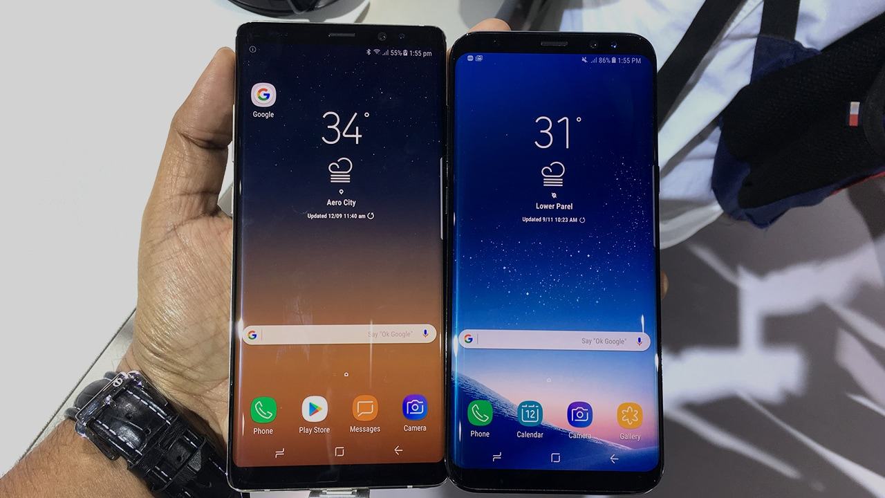 The Samsung Galaxy Note 8 on the left, the S8+ on the right