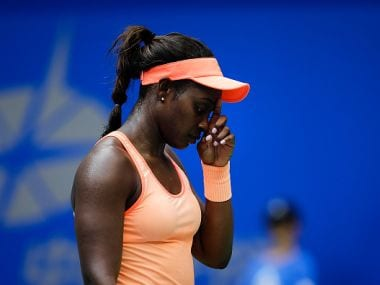 Sloane Stephens reacts during the match against Qiang Wang at the Wuhan Open. Getty
