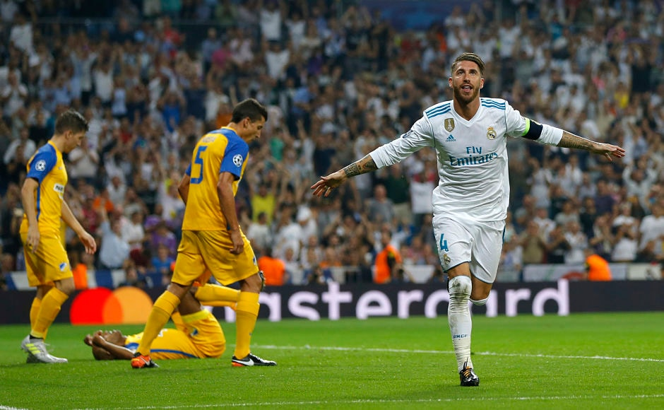 Real Madrid captain Sergio Ramos scored from a stunning overhead kick as Madrid beat Apoel Nicosia 3-0. AP