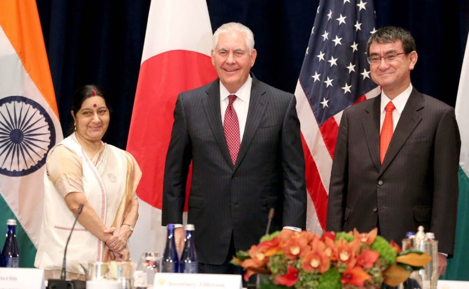 Swaraj also met with US Secretary of State Rex Tillerson and Japanese foreign minister Taro Kono, and exchanged views on maritime security, connectivity and proliferation issues. Twitter@MEAIndia