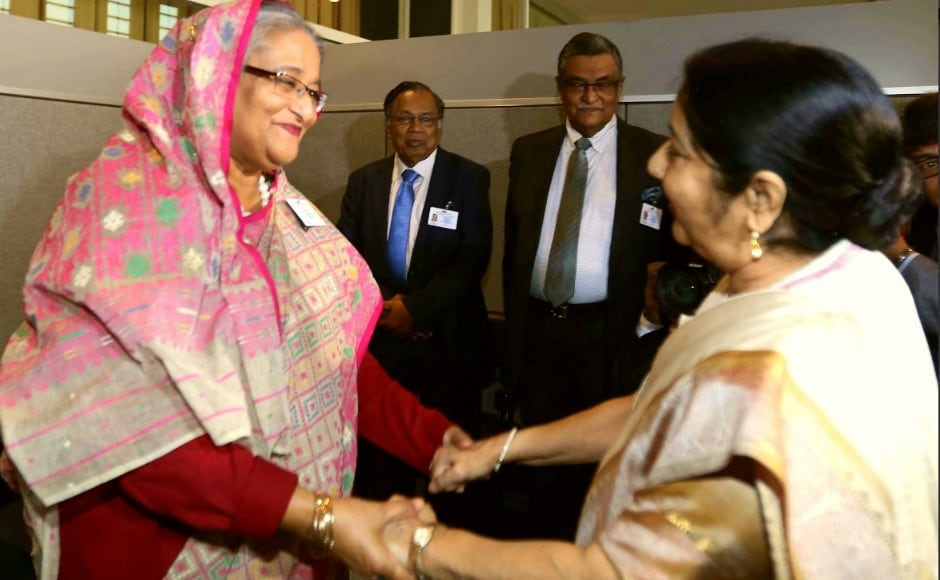 As the Rohingya refugee crisis continues in countries around Myanmar, Swaraj met Bangladesh prime minister Sheikh Hasina on Monday. Twitter@MEAIndia