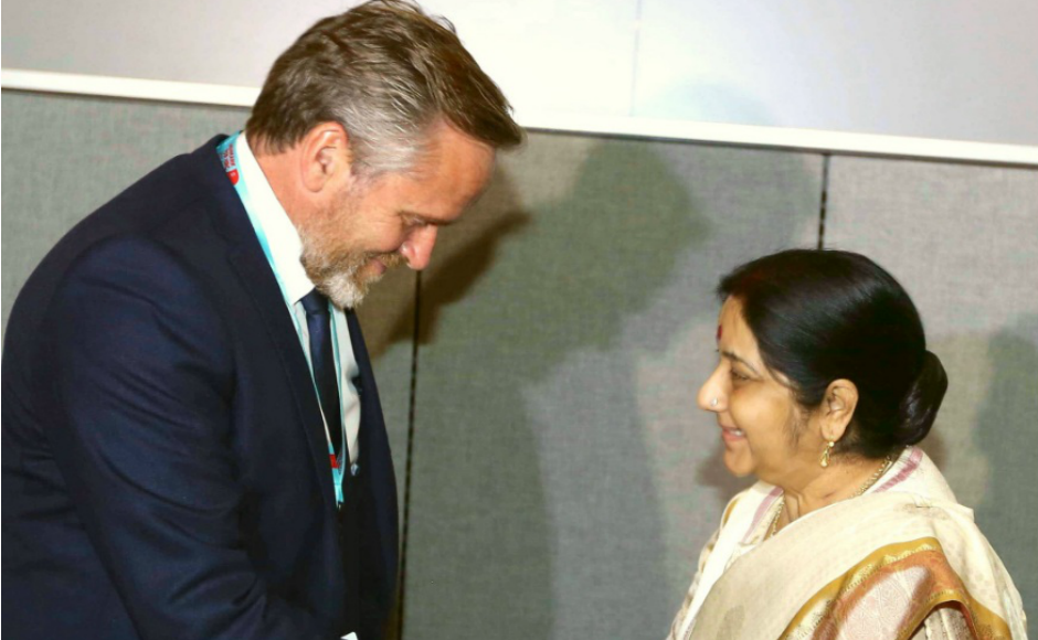 The final meeting on Monday on the sidelines of the United Nations General Assembly meet was with the foreign minister of Denmark, Anders Samuelsen. Twitter@MEAIndia