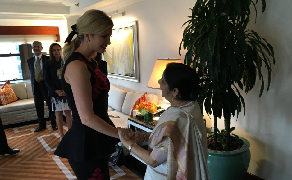 Ivanka Trump, who would be leading American delegation to the Global Entrepreneurship Summit in India in November, discussed with Sushma Swaraj about women's entrepreneurship and workforce development in the two countries. Twitter@MEAIndia