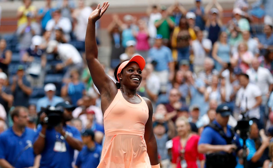 Sloane Stephens, of the United States, reacts after beating Anastasija Sevastova, of Latvia, during the quarter-final of the US Open. She beat the Latvian 6-3, 3-6, 7-6(4) in a 148-minute encounter to enter her first US Open semi-final and her second semi-final overall after the 2013 Australian Open. AP