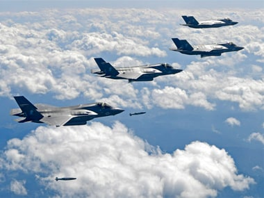 U.S. Air Force F-35B stealth fighter jets drop bombs as they fly over the Korean Peninsula. AP