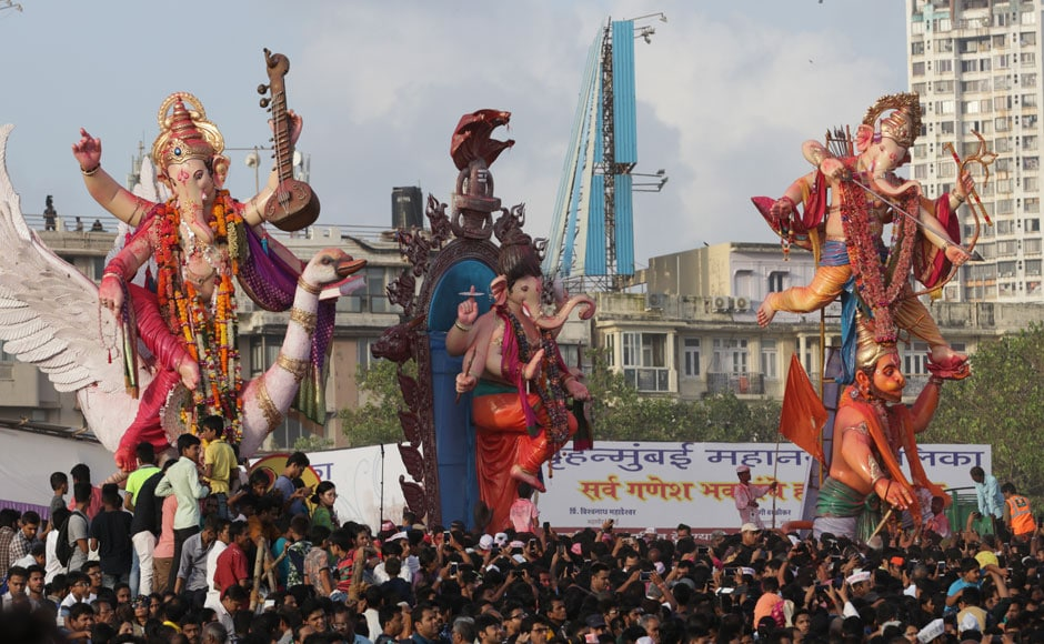 On 5 September 2017, the 10-day-long Ganesh Chaturthi festival came to an end with the immersion of idols in the sea, called 'visarjan'. More than 11,000 idols, from Ganpati mandals across the city, were immersed at spots like Girgaum Chowpatty, Dadar, Juhu, Versova and Powai lake. Image courtesy Sachin Gokhale/Firstpost