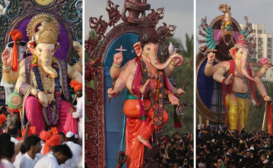 As usual, some of the biggest idols spotted were the famed Lalbaug-cha Raja, Sewri-cha Raja, Andheri-cha Raja, Fort-cha Raja and the idols from Ganesh Gully, Borivali's Kastur Park, Khetwadi, Bandra and Shivaji Park. Image courtesy Sachin Gokhale/Firstpost