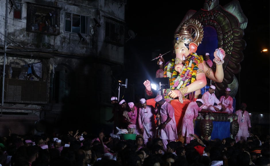 Naresh Dahibhavkar, the president of BrihanMumbai Sarvajanik Ganeshotsav Samanvay Samiti (BSGSS), said this year there were around 300 gigantic idols in public marquees within the prescribed height limit of 18 feet. Image courtesy Sachin Gokhale/Firstpost