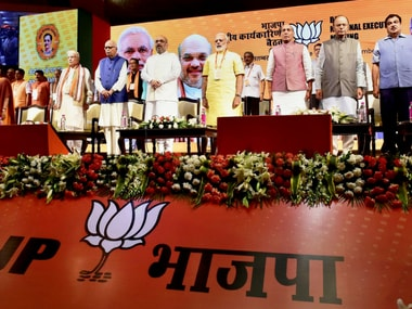 BJP leaders at the National Executive meet on Monday. PTI