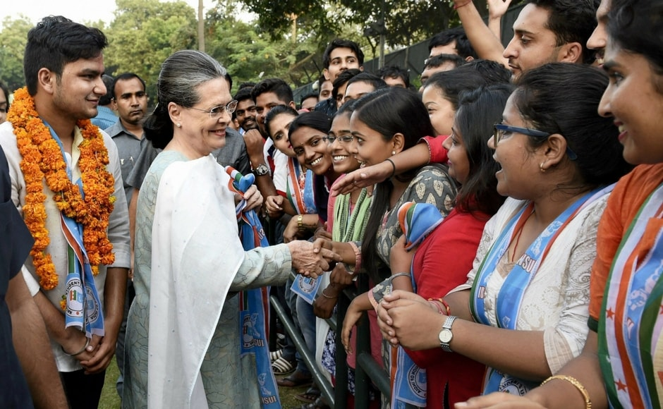 After the results were declared Congress President Sonia Gandhi visited the campus with NSUI's winning candidates Rocky Tusseed (President) and Kunal Sehrawat (vice president) to thank the students for voting at the DUSU 2017 elections in New Delhi. PTI