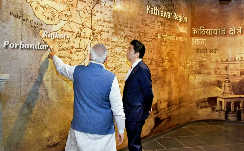 Prime Minister Narendra Modi and his Japanese counterpart, Shinzo Abe took a tour of Dandi Kutir, India's largest and only museum dedicated to the life and teachings of Mahatma Gandhi. PTI