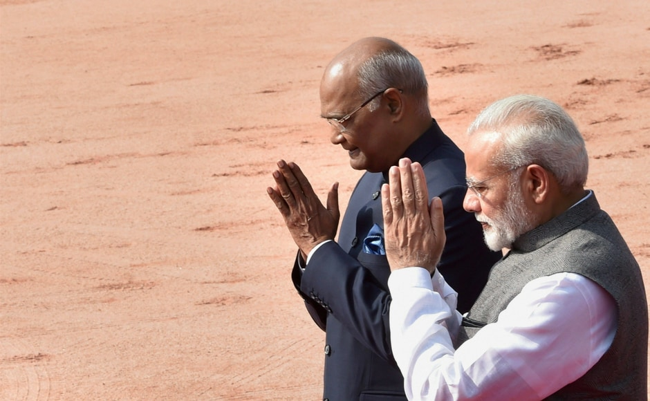 President Ram Nath Kovind with Prime Minister Narendra Modi during the welcome ceremony of President of Belarus AG Lukashenko at Rashtrapati Bhawan in New Delhi on Tuesday. PTI