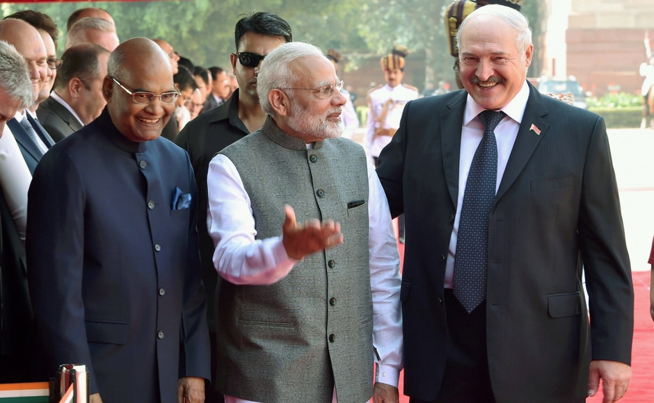 President Ram Nath Kovind with his Belarusian counterpart A G Lukashenko and Prime Minister Narendra Modi during Lukashenko's welcome ceremony at the forecourt of the Rashtrapati Bhavan in New Delhi on Tuesday. PTI