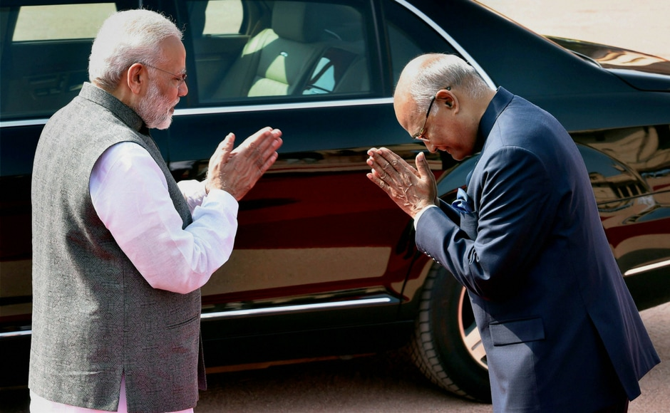 President Ram Nath Kovind exchanging greetings with Prime Minister Narendra Modi after the welcome ceremony for the visiting President of Belarus AG Lukashenko at Rashtrapati Bhawan in New Delhi on Tuesday. PTI