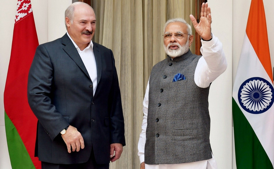 Prime Minister Narendra Modi with President of Belarus, Alexander Lukashenko before their meeting at Hyderabad House, in New Delhi on Tuesday. This is Lukashenko's third visit to India. PTI