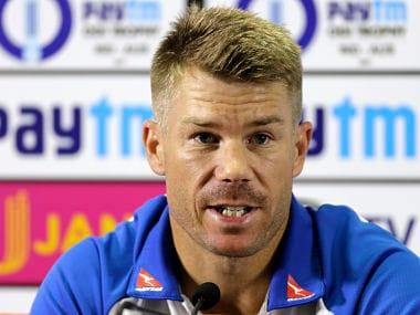 Australia vice-captain David Warner speaks during a press conference ahead of their fourth ODI against India. AP
