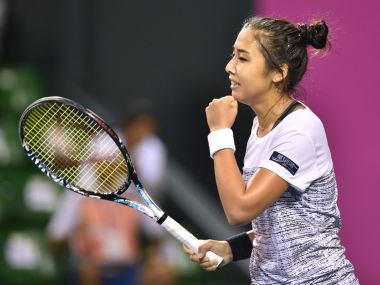 Zarina Diyas at the Japen Women's Open. Image courtesy: Twitter @WTATennis
