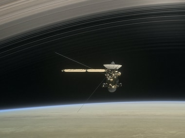 An artist's impression of Cassini during its grand finale dives. Image: NASA.