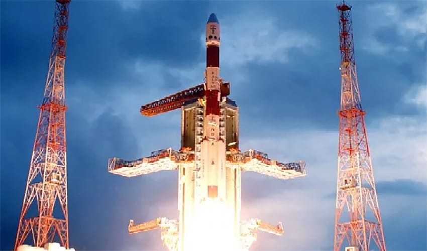 The PSLV C11 mission blasting off with Chandrayaan on board on 22 October, 2008.