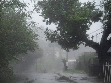 High winds and rain sweep through the streets of Puerto Rico. AP