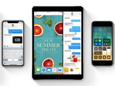 Apple's iOS 11 on an iPhone X, iPad Pro and an iPhone 8