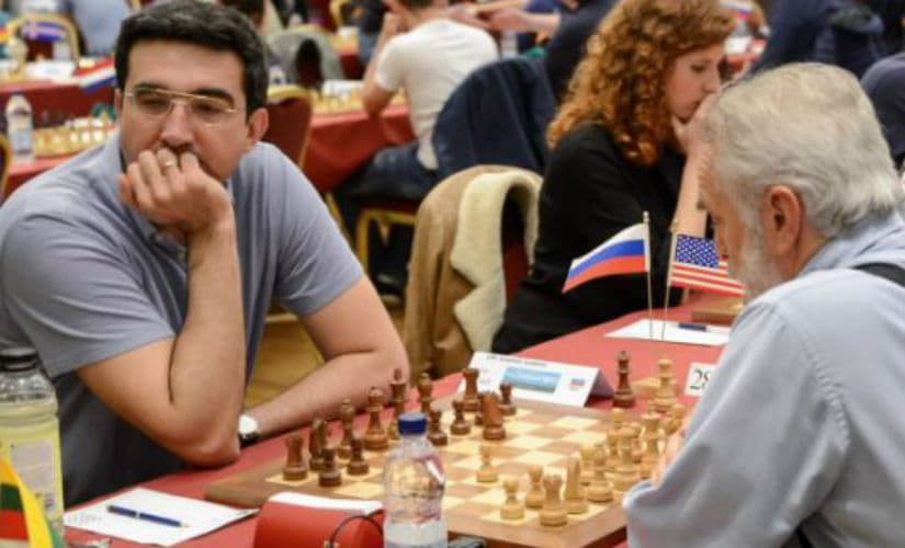 65-year-old James Tarjan was elated to see the pairings and find out that he was paired against Vladimir Kramnik. John Saunders