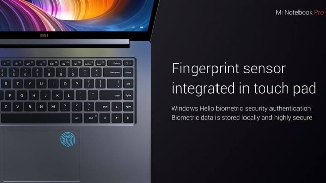 The Mi Notebook Pro adds a fingerprint scanner for Windows Hello authentication