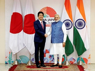Prime Minister Narendra Modi with Shinzo Abe after the joint statement. PTI