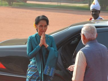 A file image of Prime MInister Narendra Modi with Myanmar State Counsellor Aung San Suu Kyi. Getty Images