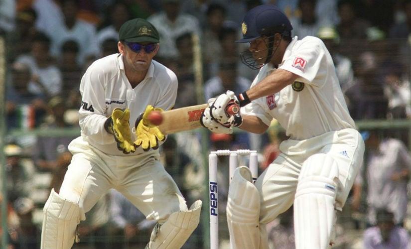 Sachin Tendulkar cuts, during Day 3 of the third Test against Australia at the MA Chidambaram Stadium in 2001. Getty Images