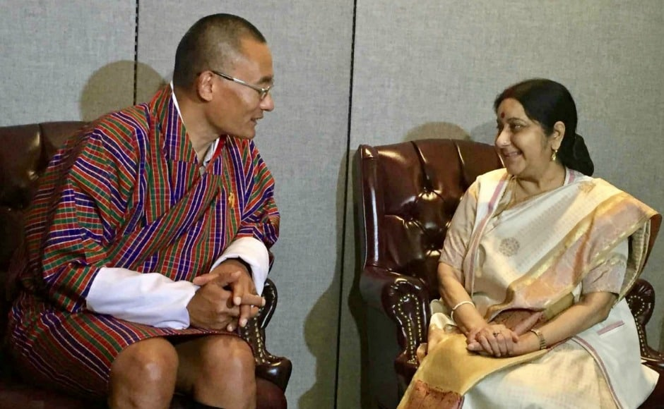 External Affairs Minister Sushma Swaraj on Monday held talks with Bhutanese prime minister Tshering Tobgay and her Tunisian counterpart Khemaies Jhinaoui, kicking off a series of bilateral meetings in New York. Twitter@tsheringtobgay