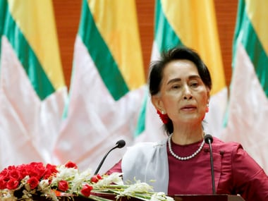 Suu Kyi during her national address on Tuesday. Reuters