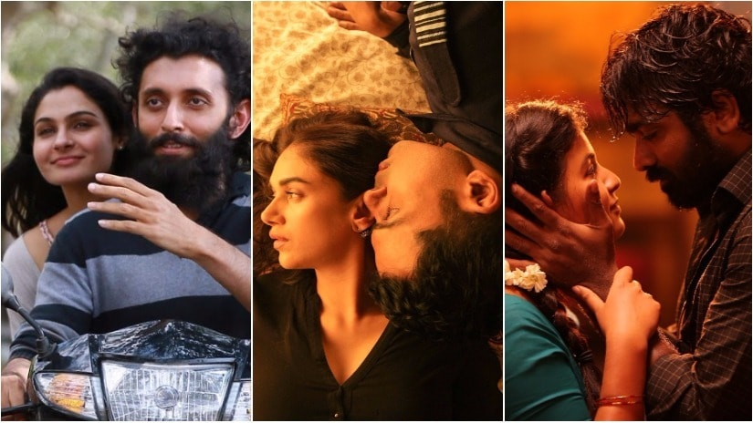 (L-R) Stills from Taramani, Kaatru Veliyidai and Iraivi