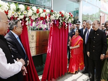 External Affairs Minister Sushma Swaraj opens the new chancery complex of the Indian High Commission in Dhaka. Image courtesy: Twitter@ihcdhaka