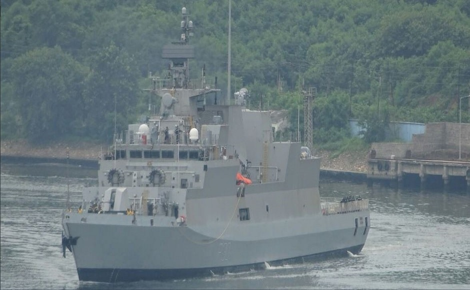 It is India's first major warship to have a superstructure of carbon fibre composite material resulting in improved stealth features, lower top weight and maintenance costs. Image courtesy: Twitter/@indiannavy