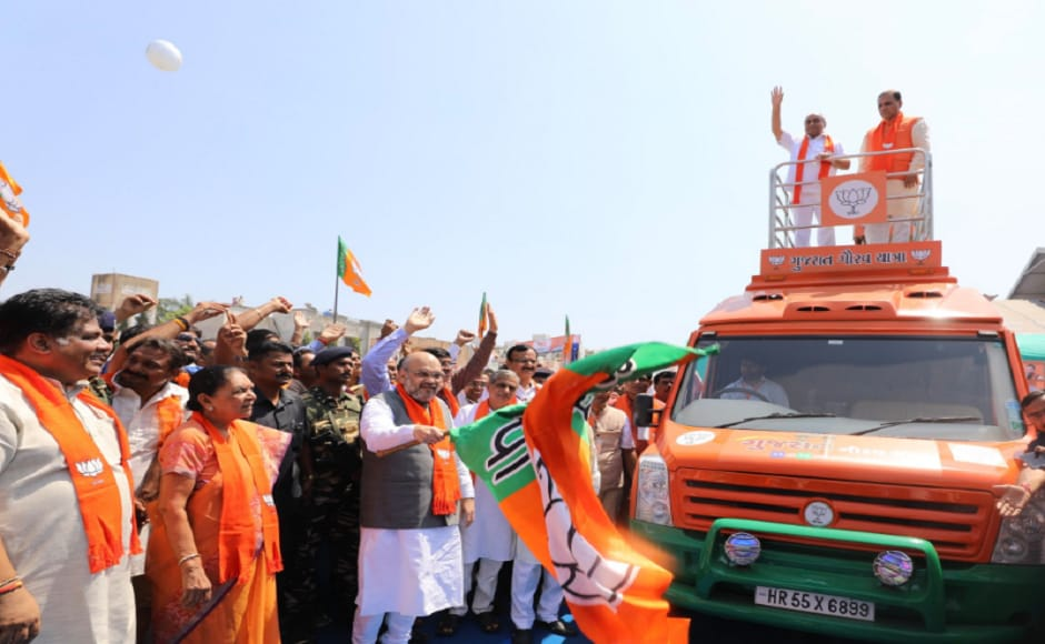 Gujarat Assemby polls Amit Shah kicks off 'Gujarat Gaurav Yatra&#039 from Vallabhbhai Patel's birth place Karamsad