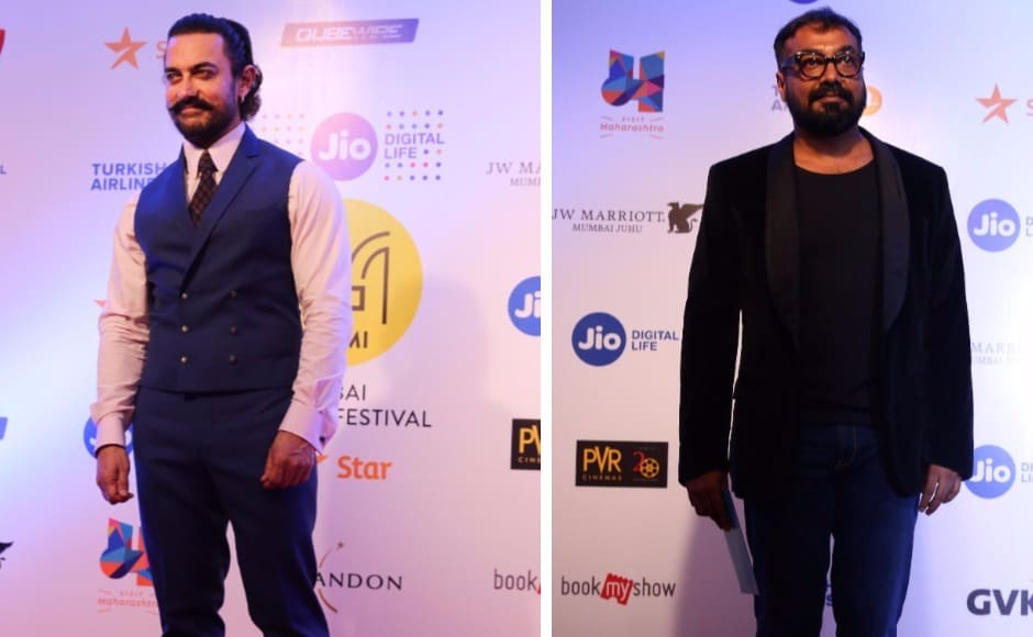 Seen here are Aamir Khan and Anurag Kashyap. Kashyap's 'Mukkabaaz' was the opening film at the festival. He is also on the board of directors for the Mumbai Film Festival.