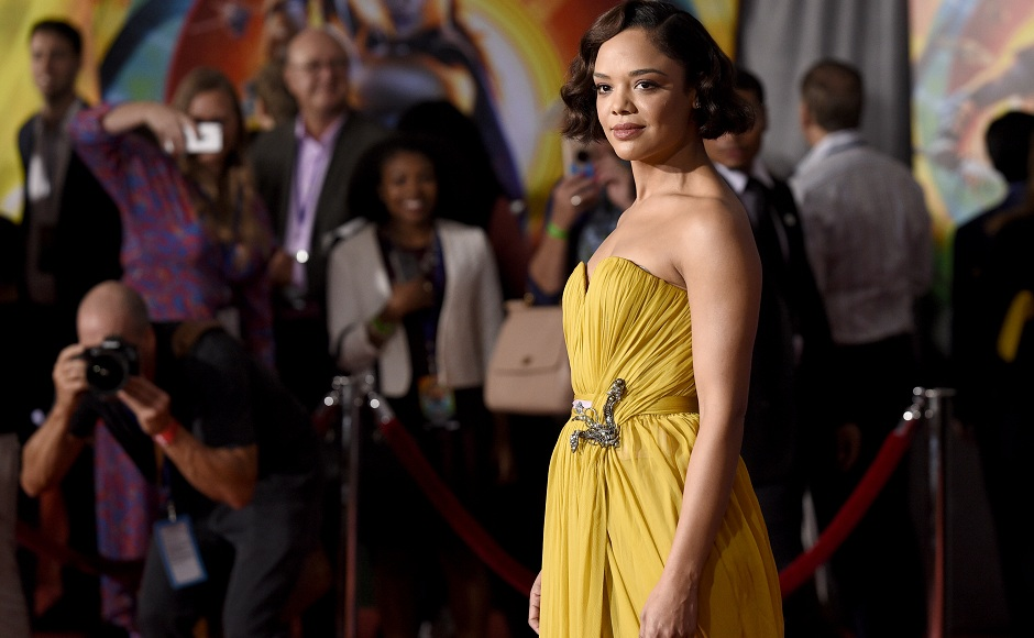 Tessa Thompson poses for the media at the world premiere of Thor: Ragnarok in Los Angeles. Photo courtesy: AP/Chris Pizzello