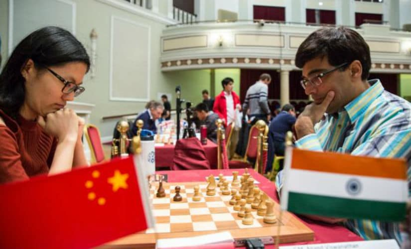 Hou Yifan and Viswanathan Anand in the opening phase of the game. Image Courtesy: Chess.com Maria Emelianova