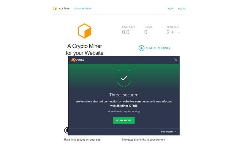 An Android miner detected through Avast anti-malware service. Image: Ethereum World News
