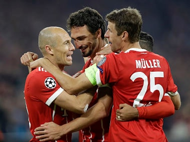 File image of Bayern Munich players celebrating scoring a goal. AP