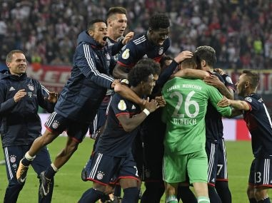 Bayern Munich's player celebrate after winning the German Cup match against RB Leipzig. AP
