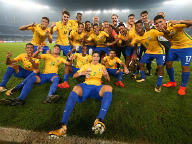 Brazil U-17 players celebrate their win over Germany in the quarter-finals of the FIFA U-17 World Cup. Getty Images