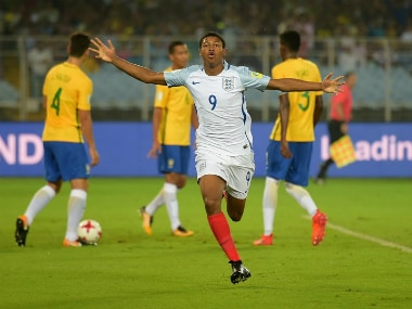 Rhian Brewster of England celebrates scoring the opening goal against Brazil in the semi-final. Getty