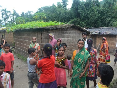 Children from flood reveged Chaurabari who are currently in Odalguri. Image by Syeda Ambia Zahan